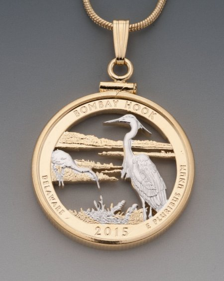 Blue Heron Pendant, Blue Heron Necklace, Blue Heron Jewelry, World Coin Jewelry, Bombay Hook , Bird Jewelry, Nature Jewelry, ( # 2052 )