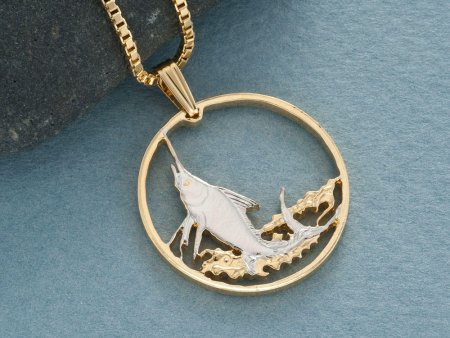 "Blue Marlin Pendant, Blue Marlin Jewelry, Sea Life Jewelry, Hand Cut British Virgin Islands Coin, 1"" in Diameter, ( # 941 )"