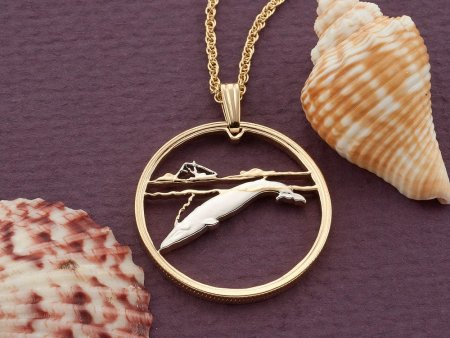 "Blue Whale Pendant, Blue Whale Jewelry, Whale Coin Jewelry, Whale Jewelry, Sea Life Coin Jewelry, 1"" in diameter, ( # 679D )"