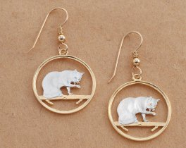 "British Blue Cat Coin Earrings, Isle Of Man Cat Coin Hand Cut, 14 Karat Gold and Rhodium plated,14 K G/F Wires,7/8"" in Diameter, ( # 669E )"
