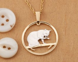 "British Blue Cat Pendant and Necklace Jewelry, Isle Of Man Cat coin Hand Cut, 14K and Rhodium plated, 7/8 "" in Diameter, ( # 669 )"