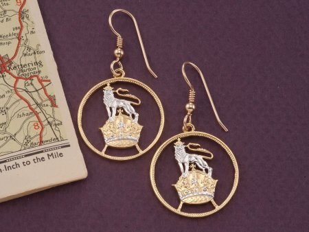 British Lion Earrings, British Coin Jewelry, Great Britain Coin Jewelry, Lion Earrings, Coin Earrings, Cut Coin Jewelry, ( # 133E )