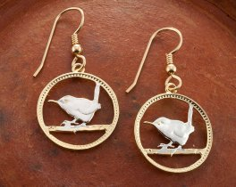 "British Wren Earrings, British Farthing Coin Hand Cut, 14K Gold and Rhodium plated, 3/4"" in Diameter,14 K Gold Filled Wires, ( # 127E )"