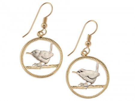 """British Wren Earrings, British Farthing Coin Hand Cut, 14K Gold and Rhodium plated, 3/4"""" in Diameter,14 K Gold Filled Wires, ( # 127E )"""