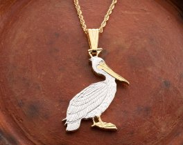 "Brown Pelican Pendant and Necklace, Zambia Pelican Coin Hand Cut, 14 Karat Gold and Rhodium Plated, 1 1/8"" in Diameter, ( # 839B )"