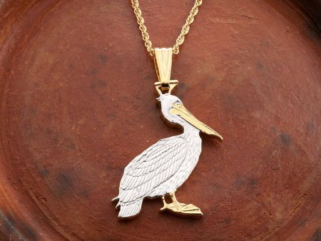 """Brown Pelican Pendant and Necklace, Zambia Pelican Coin Hand Cut, 14 Karat Gold and Rhodium Plated, 1 1/8"""" in Diameter, ( # 839B )"""