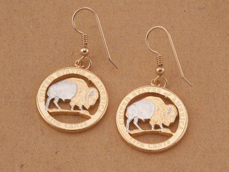 "Buffalo Earrings, United States Coin Jewelry, Coin Earrings, Buffalo Jewelry, Buaffalo Nickel Earrings, 3/4"" in diameter, ( # JNB2E )"