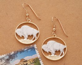 "Buffalo Nickel Earrings, Womans Earrings, Womans Jewelry, Wild Life Jewelry, 14 Karat Gold and Rhodium Plated, 7/8"" in Diameter, ( # 310E )"
