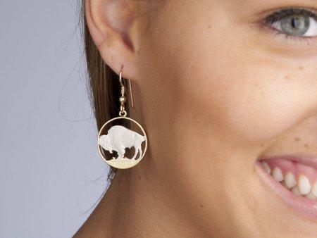 "Buffalo Nickel Earrings, Womans Earrings, Womans Jewelry, Wild Life Jewelry, 14 Karat Gold and Rhodium Plated, 7/8"" in Diameter, ( # 310E )"