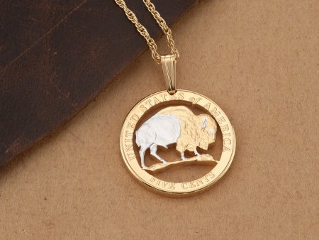 "Buffalo Nickel Pendant, hand cut United States Buffalo Nickel, United States Coin Jewelry, 3/4"" diameter, ( # JNB2 )"
