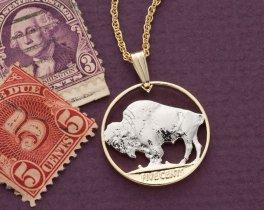 "Buffalo Pendant, Buffalo Nickle Pendant, Buffalo Nickel Jewelry, United States Coin Jewelry, 3/4"" diameter, ( # 310 )"