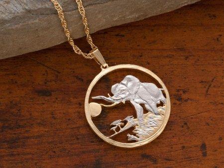 "Bull Elephant Pendant, Hand Cut Somalia Elephant Coin, African Wild life Coin, Elephant Jewelry, 1 1/8"" in Diameter, ( # 944 )"