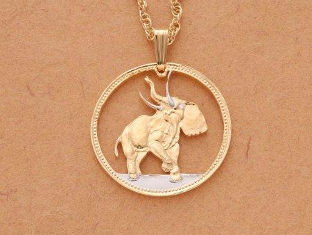 Bull Elephant Pendant & Necklace, Liberia One Hundred  coin Hand Cut, ( # 376 )