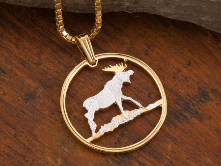"""Bull Moose Pendant and Necklace , Moose Wild life Medallion Hand Cut, 14 Karat Gold and Rhodium Plated, 1"""" in Diameter, ( # 888 )"""
