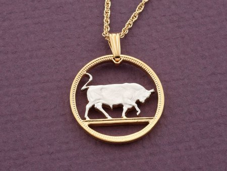 "Bull Pendant, Bull Necklace, Ireland Coin Jewelry, Irish Jewelry, Taurus Jewelry, 1"" in diameter, ( # 169D )"