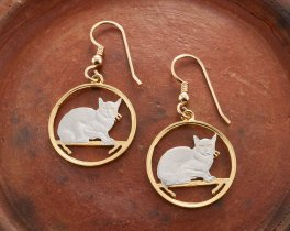 "Burmese Cat Earrings, Hand Cut Isle Of Man Cat Coins, Cat Jewelry, Cat Earrings, 7/8"" in Diameter, ( # 666E )"