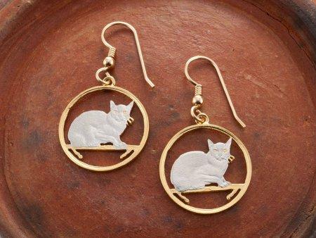 """Burmese Cat Earrings, Hand Cut Isle Of Man Cat Coins, Cat Jewelry, Cat Earrings, 7/8"""" in Diameter, ( # 666E )"""