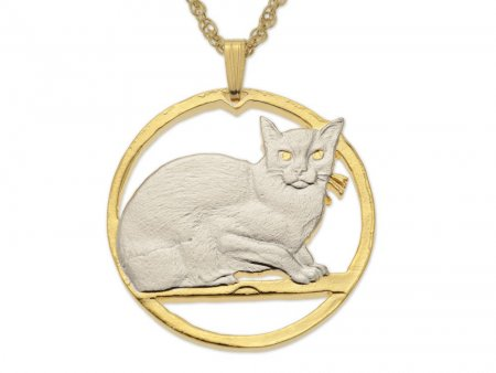 "Burmese Cat Pendant and Necklace, Isle Of Man Burmese Cat Coin Hand Cut, 14 Karat Gold and Rhodium Plated, 1 1/4"" in Diameter, ( # 730 )"