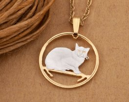 "Burmese Cat Pendant and Necklace Jewelry, Isle Of Man Cat Coin Hand Cut, 14K and Rhodium plated, 7/8 "" in Diameter, ( # 666 )"