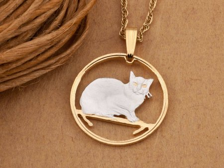 """Burmese Cat Pendant and Necklace Jewelry, Isle Of Man Cat Coin Hand Cut, 14K and Rhodium plated, 7/8 """" in Diameter, ( # 666 )"""