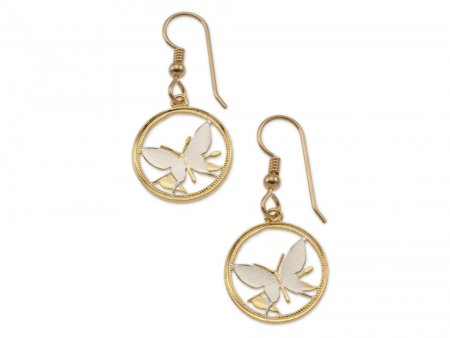 """Butterfly Coin Earrings, New Guinea Butterfly Coin Hand Cut, 14 Karat Gold and Rhodium Plated, 5/8"""" in Diameter, ( # 247E )"""