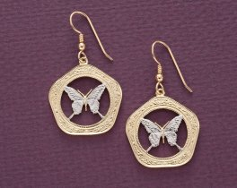 "Butterfly Earrings, Belize 100 Dollar Butterfly Coins Hand Cut, 14 Karat Gold and Rhodium plated, 14K G/F Wires 1"" in Diameter, ( # 657E )"
