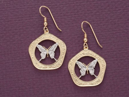 """Butterfly Earrings, Belize 100 Dollar Butterfly Coins Hand Cut, 14 Karat Gold and Rhodium plated, 14K G/F Wires 1"""" in Diameter, ( # 657E )"""