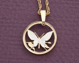 "Butterfly Pendant and Necklace, Hand Cut Butterfly Coin, Butterfly Jewelry, 5/8"" in Diameter, ( # 247 )"