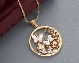 "Butterfly pendant and necklace, Hand cut Butterfly jewelry, Butterfly Jewelry, 1 1/8"" diameter, ( # 681 )"