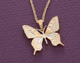 """Hand Cut Butterfly Coin  Hand cut # 379 Butterfly Pendant 1/"""" diameter"""