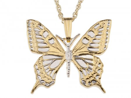 """Butterfly Pendant and Necklace, Slovakia 500 Koruna Butterfly Coin Hand Cut,14 Karat Gold and Rhodium plated,1"""" in Diameter, ( # 605B )"""