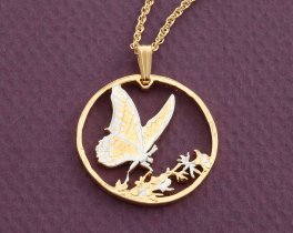 "Butterfly Pendant, Hand cut Korean Butterfly coin, Butterfly Jewelry, 1 1/8"" in diameter, ( # 729 )"