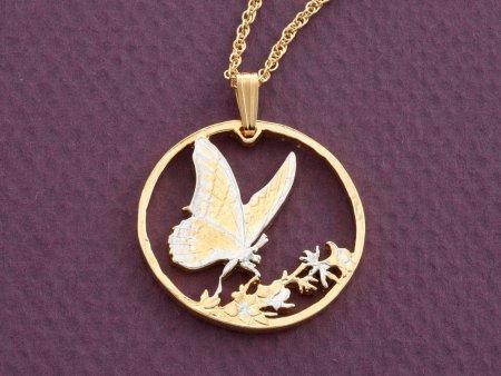 """Butterfly Pendant, Hand cut Korean Butterfly coin, Butterfly Jewelry, 1 1/8"""" in diameter, ( # 729 )"""