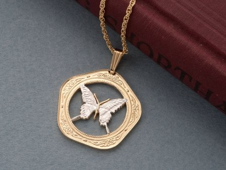 Butterfly Pendant & Necklace, Belize Coin Hand Cut, ( # 657 )