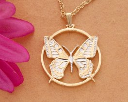 Butterfly Pendant & Necklace, Butterfly Jewelry, Hand Cut Slovakian Coin, ( # 605 )