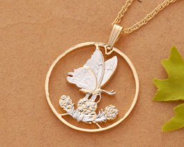 Butterfly Pendant & Necklace, Mauritius 25 Rupee Coin hand Cut,  ( # 379 )