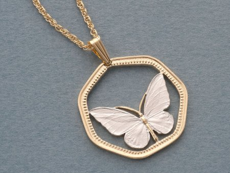 Butterfly Pendant & Necklace, New Guinea 100 KIna Coin hand Cut, ( # 811 )