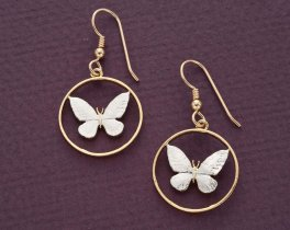 "Butterly Earrings, Philippines 25 Centimois Butterfly Coin Hand Cut, 14 Karat Gold and Rhodium plated, 3/4"" in Diameter, ( # 251E )"