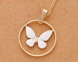 Butterly Pendant & Necklace, Philippines 25 Centimo Coin Hand Cut ( # 251 )