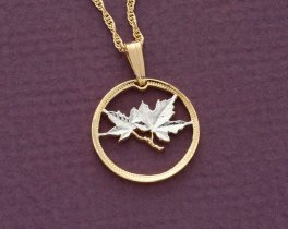 "Canada Maple Leaf Pendant and Necklace Jewelry, Canada1 Cents coin Hand Cut,14 Karat Gold and Rhodium Plated, 3/4"" in Diameter, ( # 49 )"