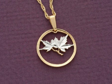 """Canada Maple Leaf Pendant and Necklace Jewelry, Canada1 Cents coin Hand Cut,14 Karat Gold and Rhodium Plated, 3/4"""" in Diameter, ( # 49 )"""