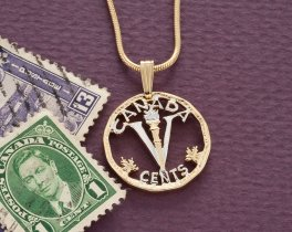 "Canadian Coin Pendant and Necklace, Canada Five Cents V Nickel Coin Hand Cut, 14 Karat Gold and Rhodium Plated, 7/8"" in Diameter, ( # 926 )"