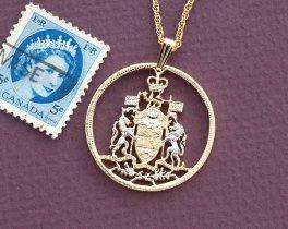 "Canadian Half Dollar Pendant, Hand cut Canada Half Dollar Royal Seal, Canadian Coin Jewelry, 1 1/8 "" in Diameter, ( # 426 )"