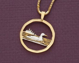 "Canadian Loon Pendant and Necklace Jewelry, Canada 1.00 Loon Coin Hand Cut, 14 Karat Gold and Rhodium Plated, 1"" in Diameter, ( # 54 )"