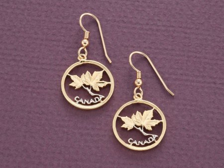 """Canadian Maple Leaf Earrings, Canada one Cent Coin Hand Cut, 14 Karat Gold and Rhodium Plated, 14K G/F Wires, 3/4"""" in Daimeter, ( # 762E )"""