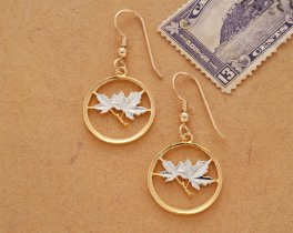 "Canadian Maple Leaf Earrings, Canada One Cent Maple Leaf Coin Hand Cut, 14 Karat Gold and Rhodium Plated, , 3/4"" in Diameter, ( # 49E )"