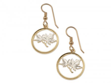 """Canadian Maple Leaf Earrings, Canada One Cent Maple Leaf Coin Hand Cut, 14 Karat Gold and Rhodium Plated, , 3/4"""" in Diameter, ( # 49E )"""