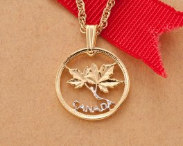 "Canadian Maple Leaf Pendant and Necklace, Canada One Cent Maple Leaf Coin Hand Cut,14 K Gold and Rhodium Plated, 3/4"" in Diameter, ( # 762 )"