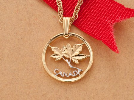 """Canadian Maple Leaf Pendant and Necklace, Canada One Cent Maple Leaf Coin Hand Cut,14 K Gold and Rhodium Plated, 3/4"""" in Diameter, ( # 762 )"""