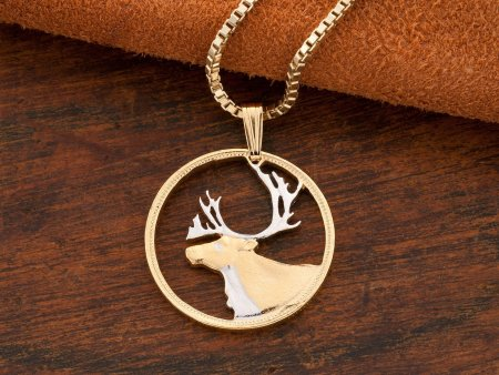 Caribou Pendant, Caribou Jewelry, Canada Coin Jewelry, Wildlife Jewelry, Wildlife Pendant, Wildlife Gifts, Hunters Gifts, ( # 53 )